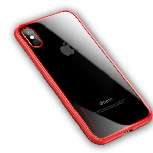 NXE Clear 9H Glass Back + Cobertura Híbrida TPU Edge Para O Iphone X - Vermelho