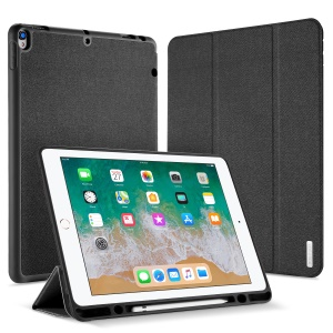 DUXDUCIS Domo Series Cloth Texture Tri-fold Stand Leather Smart Case for iPad Pro 12.9 (2017) - Black