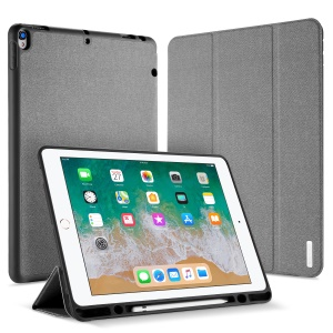 DUXDUCIS Domo Series Cloth Texture Tri-fold Stand Leather Smart Cover for iPad Pro 12.9 (2017) - Grey