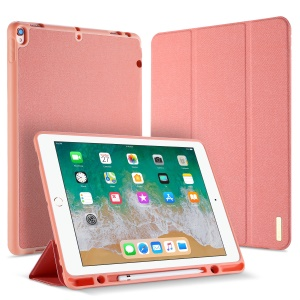 DUXDUCIS Domo Series Cloth Texture Tri-fold Stand Leather Smart Shell for iPad Pro 12.9 (2017) - Pink