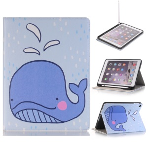 Embossed Cartoon Pattern Leather Stand Case for iPad 9.7 (2018)/9.7 (2017)/Air 2/Air with Pen Slot - Whale