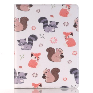Embossed Cartoon Pattern Leather Stand Cover for iPad 9.7 (2018)/9.7 (2017)/Air 2/Air with Pen Slot - Squirrel and Fox