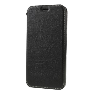 Auto-absorbed Leather Card Holder Stand Phone Cover for iPhone X - Black