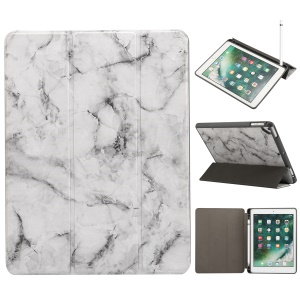 Marble Pattern Tri-fold Stand Smart Leather Case with Pen Slot for iPad 9.7-inch (2018)/9.7-inch (2017)/Pro 9.7 inch (2016)//Air 2/Air - Black