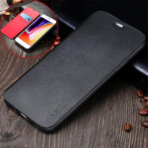 X-LEVEL Card Holder Stand Leather Flip Phone Case for iPhone 8 Plus / 7 Plus - Black