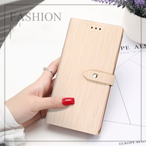 X-LEVEL Vertical Stripes Wallet Stand Leather Phone Shell for iPhone SE (2nd generation)/8/7 - Gold