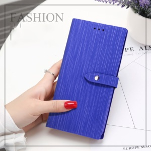X-LEVEL Vertical Stripes Wallet Stand Leather Protector Shell Cover for iPhone SE (2nd generation)/8/7 - Dark Blue