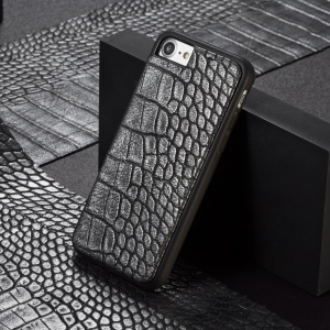 WHATIF Crocodile Texture Leather Coated Hard Protection Cover for iPhone 8 / 7 4.7 inch - Black