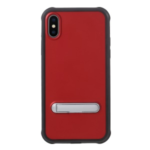 Anti-drop PC + TPU Hybrid Cover with Kickstand for iPhone X - Red
