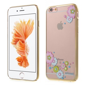 X-FITTED for iPhone 6s 6 Cute Flower Swarovski Diamond PC Back Case