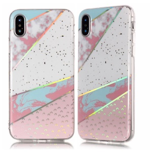 Marble Pattern Plated IMD TPU Soft Protector Cover for iPhone XS / X 5.8 inch - White / Pink