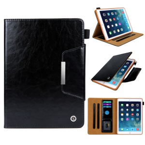 Crazy Horse Texture Stand Card Slots PU Leather Tablet Case for iPad 9.7-inch (2018) / 9.7-inch (2017) / Air / Air 2 - Black