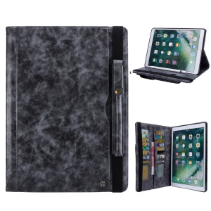 Retro Crazy Horse Texture Stand Wallet PU Leather Tablet Case with Pen Slot for iPad Pro 12.9 (2017) / Pro 12.9 inch (2015) - Grey