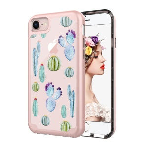 Pattern Printing PC TPU Hybrid Case Cover for iPhone 8/7 4.7 inch - Blue Cactus