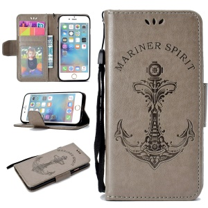 Imprinted Boat Anchor Pattern Leather Wallet Mobile Case for iPhone 6s / 6 4.7 inch - Grey