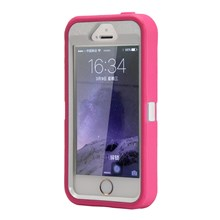 Detachable Shockproof Drop-proof Dust-proof Plastic + TPU Hybrid Case for iPhone SE/5s/5 - White / Rose