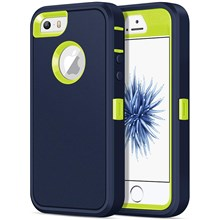 Detachable Shockproof Drop-proof Dust-proof PC + TPU Hybrid Cover Shell for iPhone SE/5s/5 - Green / Dark Blue