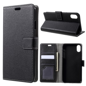 Litchi Texture Wallet Stand Leather Mobile Shell Case for iPhone 9 - Black