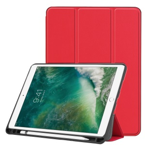 Tri-fold Smart Leather Tablet Stand Shell with Pen Slot for iPad Pro 10.5-inch (2017) - Red