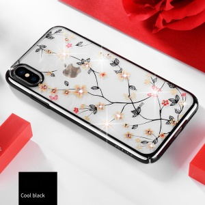 SULADA Electroplating Rhinestone Decoration Patterned PC Phone Case for iPhone XS / X 5.8 inch - Black