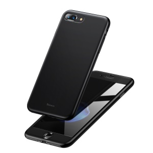 BASEUS Full Protection Matte PC + TPU Combo Cover + Tempered Glass Screen Protector for iPhone 8 Plus /7 Plus 5.5 inch - Black