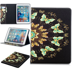 Funda Protectora De Cuero Estampada Para Ipad 9.7 (2018) /9.7 (2017) / Pro 9.7 / Air 2/1 - Mariposas Coloreadas