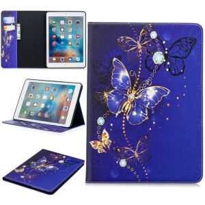 Custodia Con Copertina Rigida Per Tablet In Pelle Per Ipad 9.7 (2018) /9.7 (2017) / Pro 9.7 / Air 2/1 - Farfalle Blu