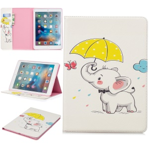 For iPad 9.7 (2018)/9.7 (2017)/Pro 9.7/Air 2/1 Patterned Wallet Stand Leather Case Accessory - Elephant and Umbrella