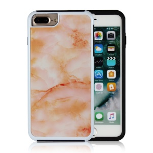 Marble Texture Shockproof TPU Edge + PC Back Hybrid Cover for iPhone 8 Plus / 7 Plus - Orange