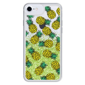 Patterned Moving Glitter Powder TPU Phone Cover Case for iPhone 8 / 7 - Pineapple