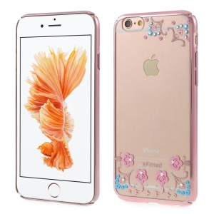 X-FITTED for iPhone 6s 6 Lucky Flowers Swarovski Diamond Hard Case - Rose Gold Edges