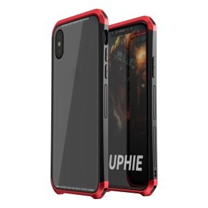 LUPHIE for iPhone X Double Dragon Tempered Glass Back + PC Metal Bumper Hybrid Case - Red