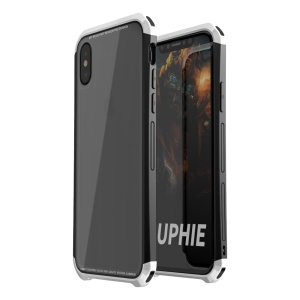 LUPHIE for iPhone X Double Dragon Tempered Glass Back + PC Metal Bumper Hybrid Case Accessory - Silver