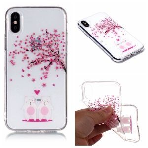 Pattern Printing IMD Soft TPU Case for iPhone X / 10 / Xs 5.8 inch - Cute Animals and Sakura