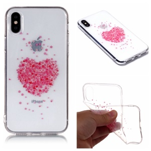 For iPhone X / 10 Patterned IMD Soft TPU Mobile Cover Case - Heart-shaped Flower