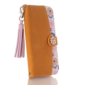 Pattern Printing Flower 3D Rhinestone Decor Leather Stand Wallet Cell Phone Shell for iPhone X - Brown / Light Purple Tassels
