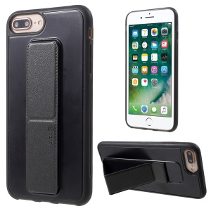 ROAR Aura Series TPU Back Cover with PU Leather Kickstand for iPhone 8 Plus/7 Plus/6s Plus/6 Plus 5.5 inch - Black