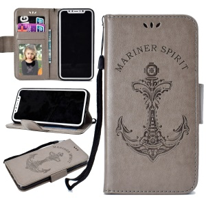 Imprinted Boat Anchor Pattern Wallet Leather Stand Case for iPhone X - Grey