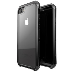 LUPHIE Drop-proof Tempered Glass + PC + Metal Hybrid Phone Cover for iPhone 6s/6/7/8 - All Black