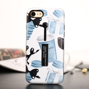 Embossment Pattern Printing TPU + Plastic Combo Mobile Case with Kickstand for iPhone 8 / 7 4.7 inch - Macaron and Gifts