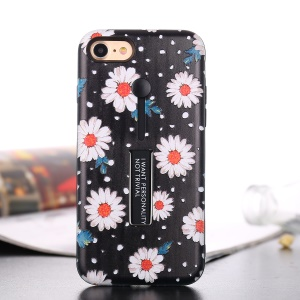 Embossed Flower Pattern TPU + PC Kickstand Cover with Finger Grip for iPhone 8 / 7 4.7 inch - Daisy Flower