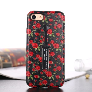 Embossed Flower Pattern TPU + PC Kickstand Case with Finger Grip for iPhone 8 / 7 4.7 inch - Red Rose