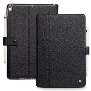 QIALINO Business Style Cross Texture Genuine Leather Smart Case for iPad Air 10.5 (2019)/Pro 10.5 (2017) - Black