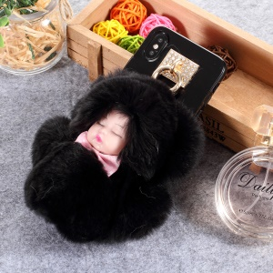 Lovely 3D Fluffy Plush Doll Soft TPU Case for iPhone Xs/X 5.8 inch - Black