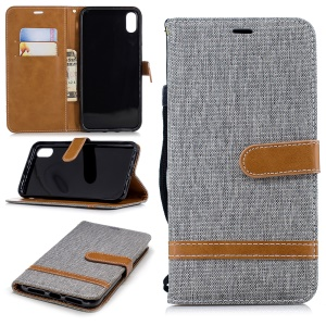 Assorted Color Jeans Cloth Wallet Stand Leather Cover for iPhone XS Max 6.5 inch - Grey