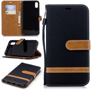 For iPhone XR 6.1 inch Assorted Color Jeans Cloth Wallet Stand Leather Phone Case - Black