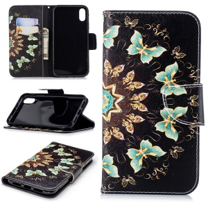 Pattern Printing Magnetic Wallet Stand Leather Case for iPhone XR 6.1 inch - Colorized Butterflies