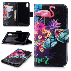 Pattern Printing Magnetic Wallet Stand Leather Mobile Phone Case for iPhone XR 6.1 inch - Flamingo and Pineapple