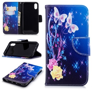 Pattern Printing PU Leather Magnetic Wallet Stand Casing for iPhone XR 6.1 inch - Crystal Butterfly and Flower