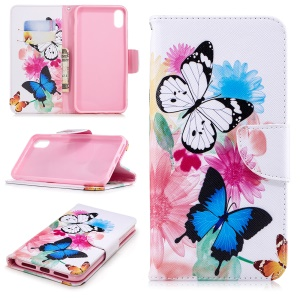 Pattern Printing PU Leather Wallet Stand Phone Case Accessory for iPhone XS Max 6.5 inch - Colorful Butterflies